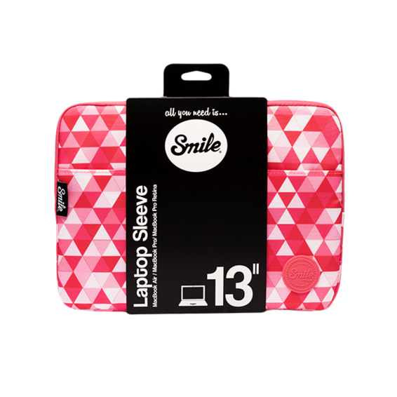 Funda Smile Sleeve bag Pink Geometric para ordenadores y tablets de hasta 13''