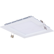 Flat square downlight 12W 3000K White Recessed | Silver Sanz