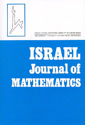 Israel Journal Of Mathematics. Issn 0021–2172 Vols. 133–138 (2003). Yearly Subscription (including Postage) /