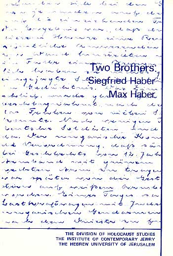 Two Brothers - Siegfried Haber, Max Haber /