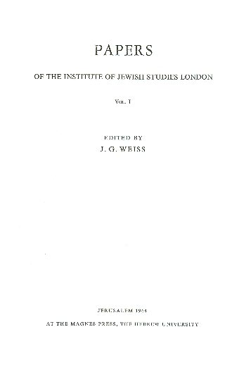 Papers Of The Institute Of Jewish Studies, Vol. L /
