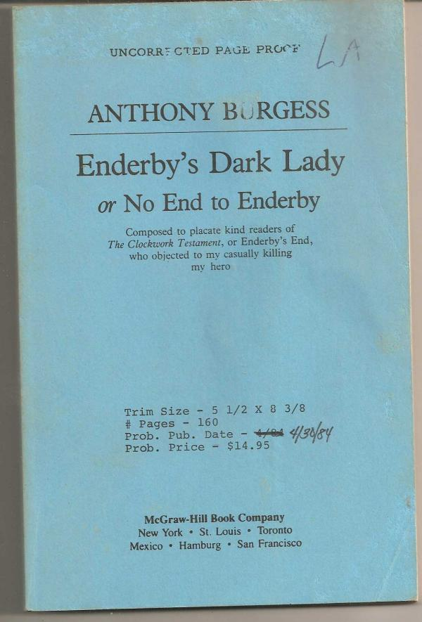 enderby's dark lady - or no end to enderby - Anthony Burgess