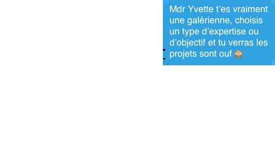 Mdr Yvette t'es vraiment une galérienne, choisis un type d'expertise ou d'objectif et tu verras les projets sont ouf 🙈