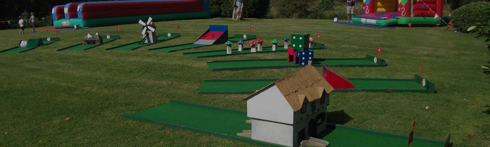 mini golf props setup on a field