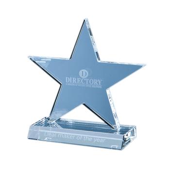 13cm Optical Crystal 5 Pointed Star on Base Award