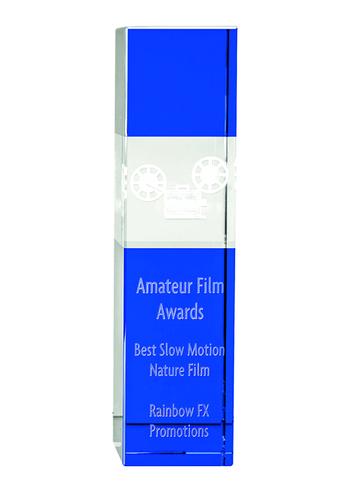 24cm Clear & Cobalt Blue Optical Crystal Square Column Award