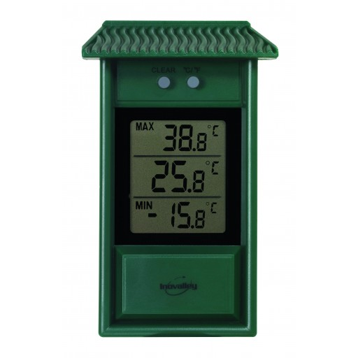 Thermomètre digital mini-maxi vert, petit