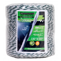 Fil torsadé blanc et vert 400 m CLASSIC