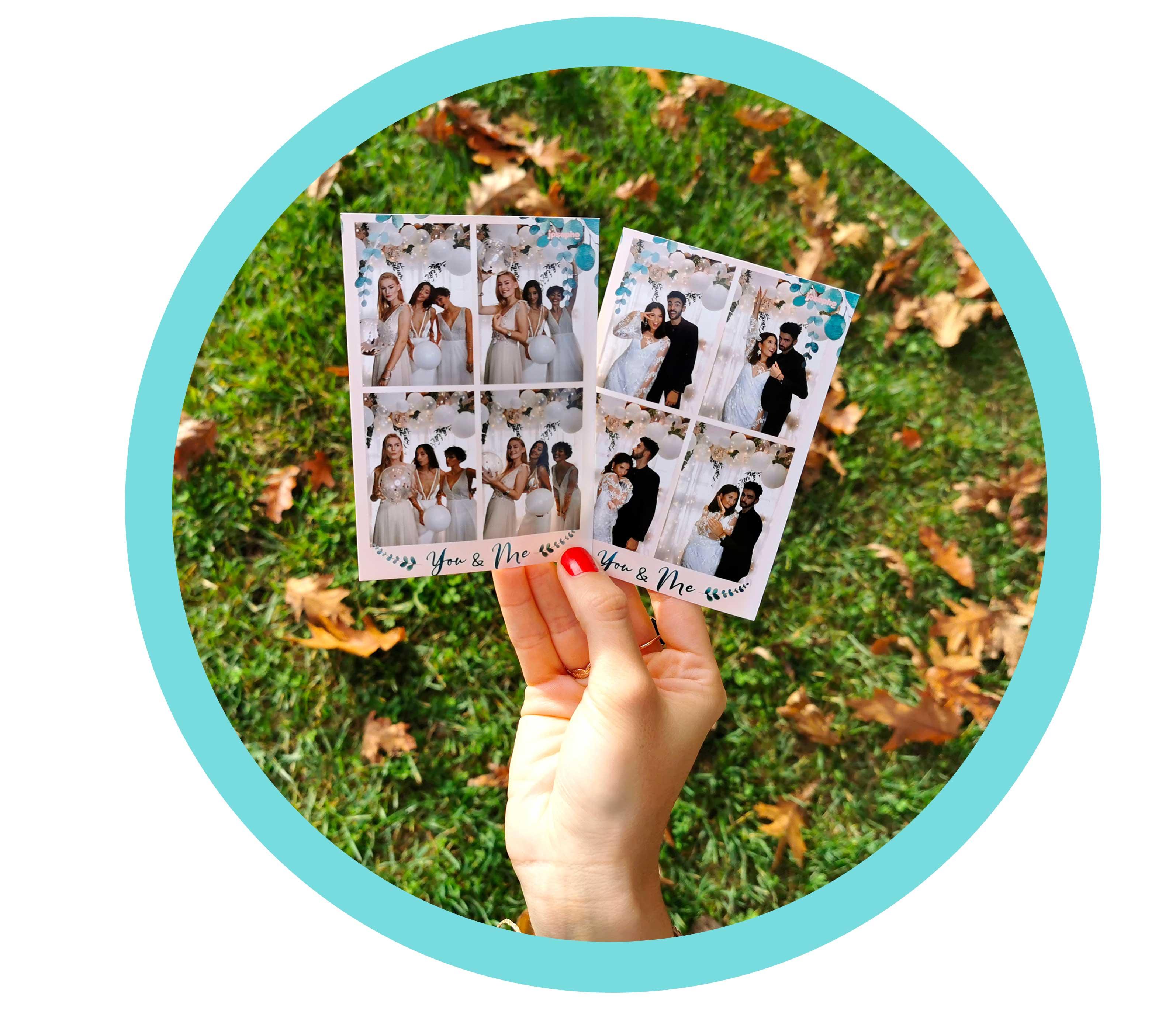 Une main tient deux photos imprimées par le photobooth / photomaton Josepho lors d'un mariage. Les photos imprimées sont personnalisées.