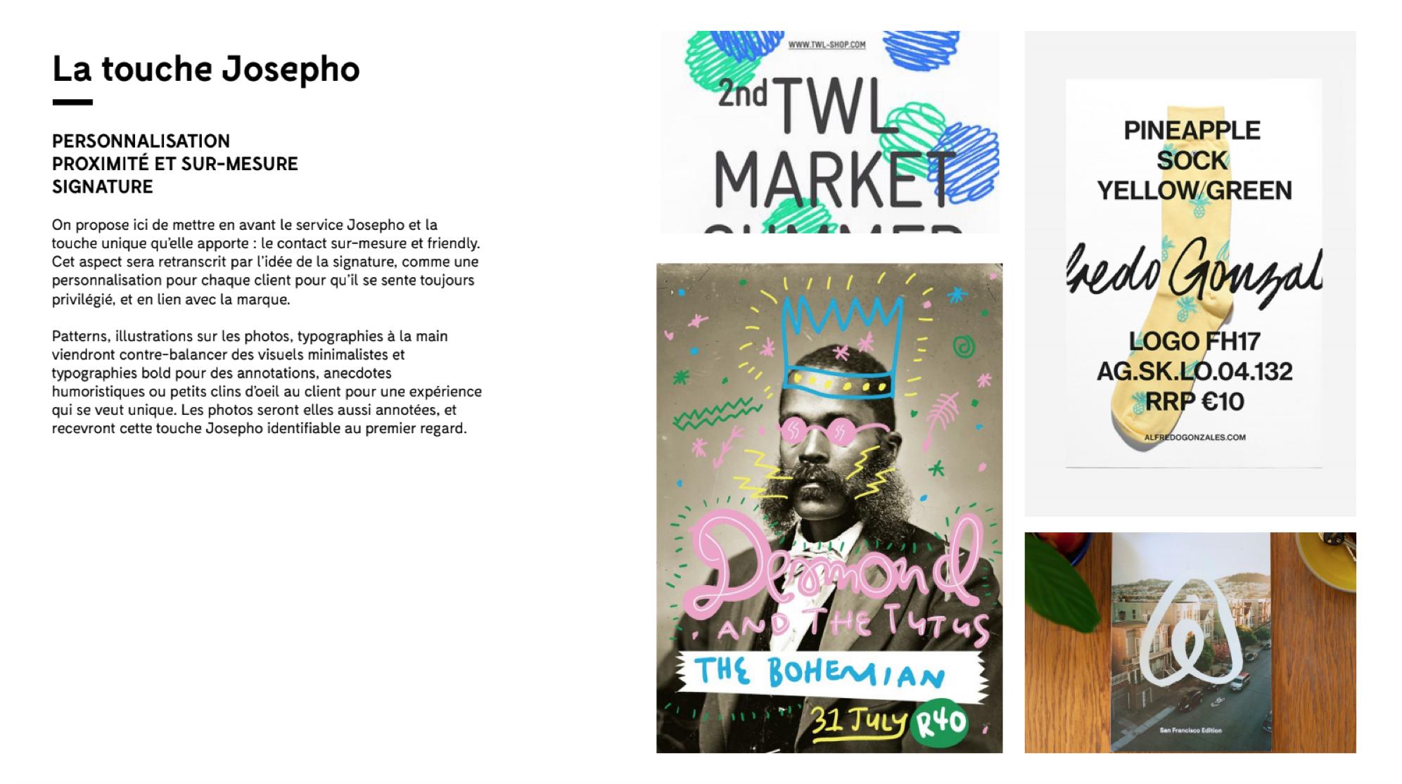 Moodboard d'inspiration qui a permis de créer la nouvelle identité de Josepho.