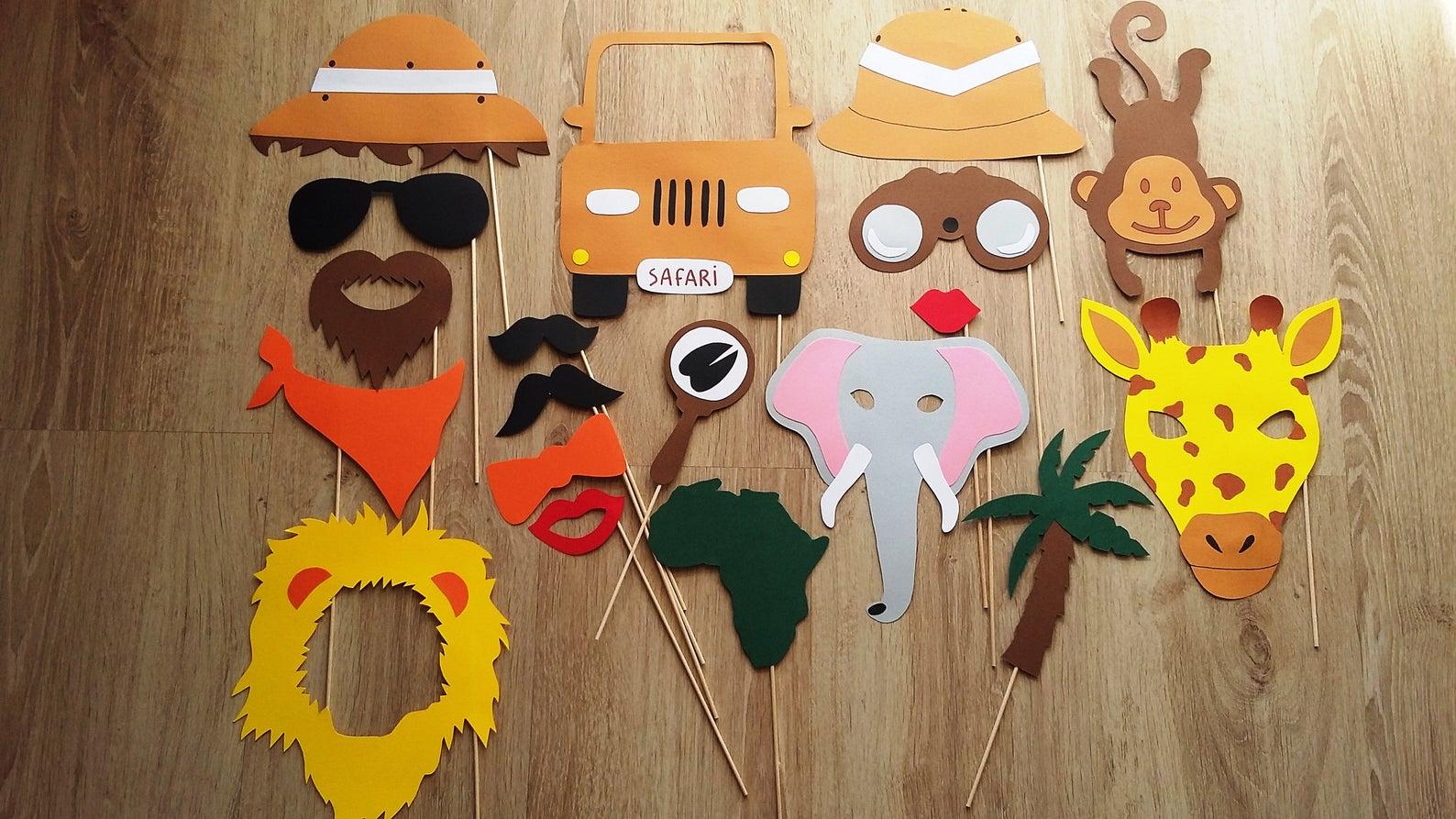 Kit photobooth pour enfants theme Safari