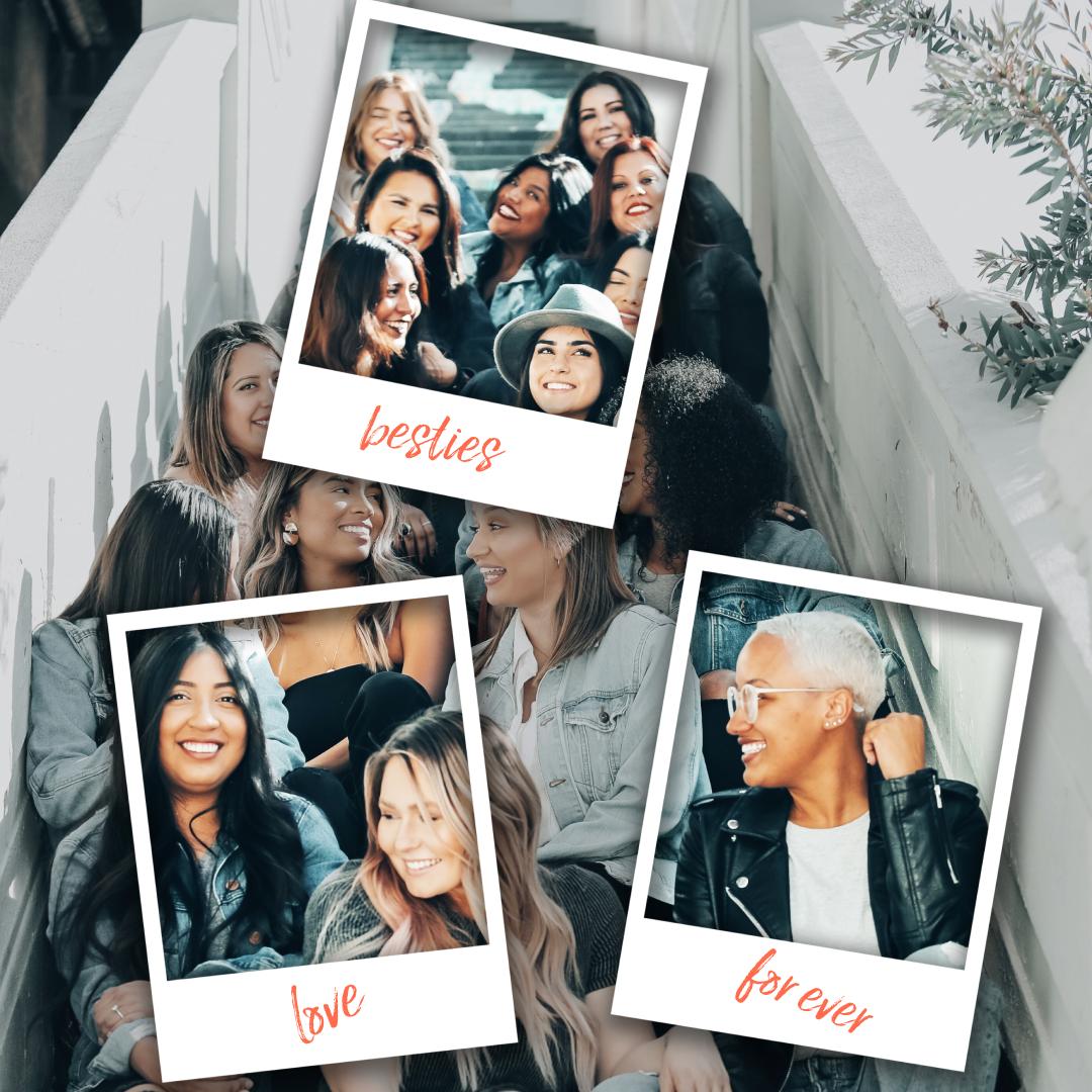 Photo format polaroid d'un groupe d'amies