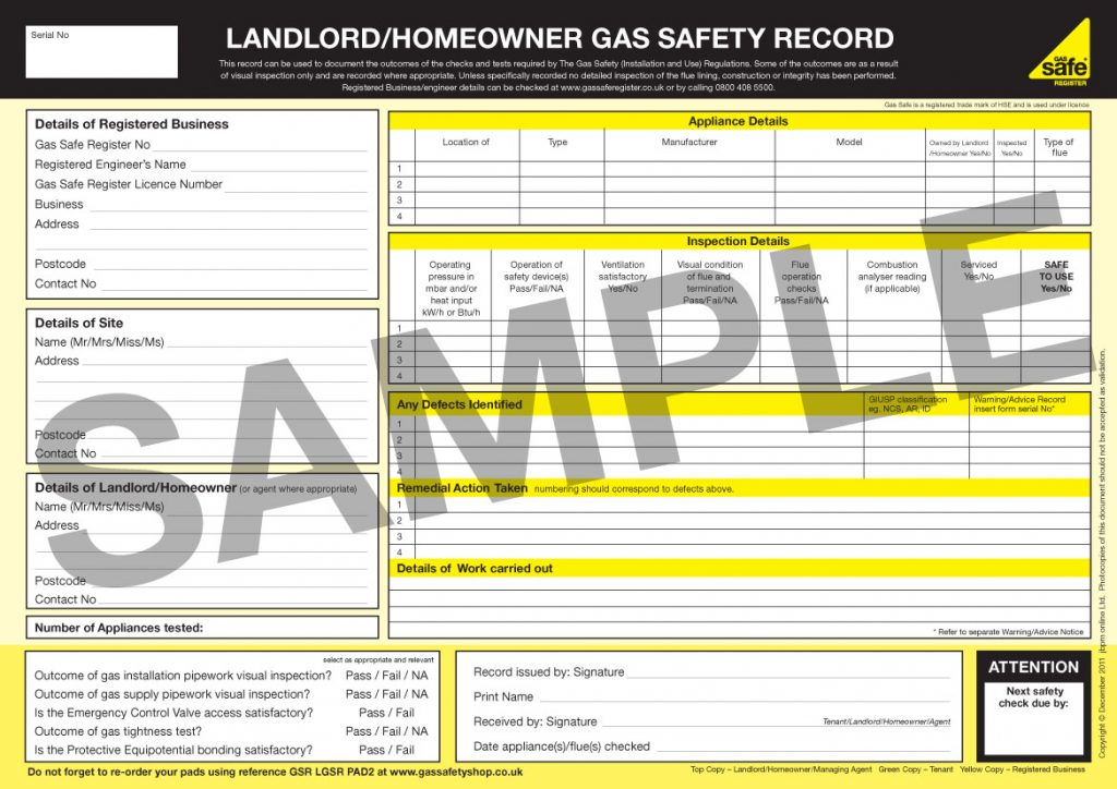 Gas Safety Record (CP12 Gas Safety Certificate)