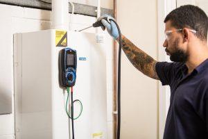 student undertaking gas safety analysis of boiler
