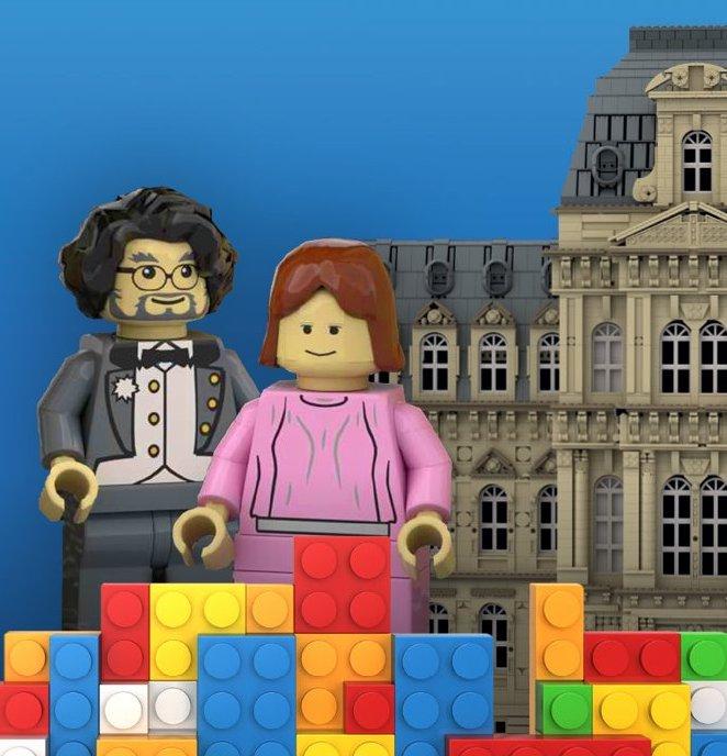 Leg it 'round LEGO® blurred background