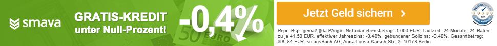 Gratis Kredit unter Null-Prozent.<leer>