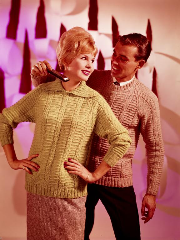 Couple In Knitted Jumpers The Man Holding A Harmonica Science
