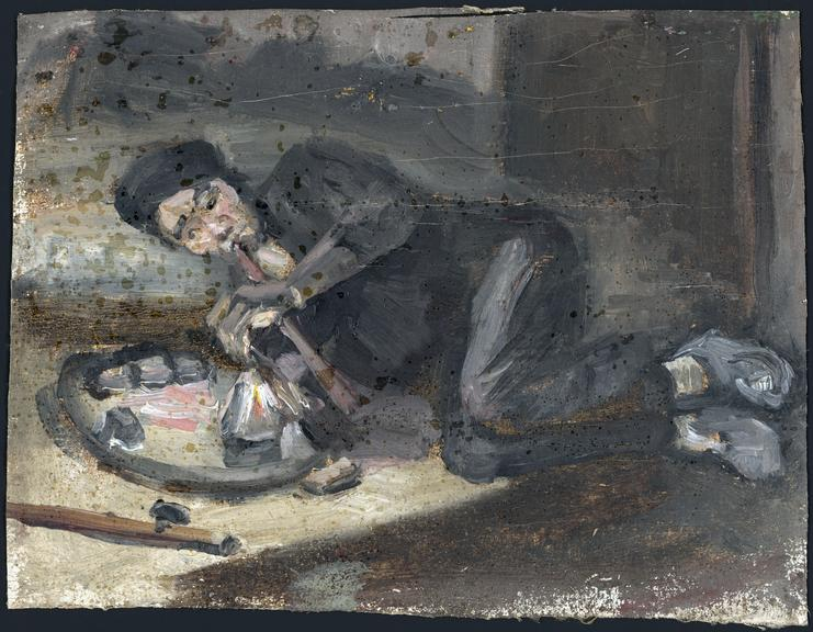 painting of man smoking opium science museum group collection