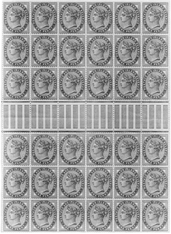 One Penny Postage And Inland Revenue Stamps
