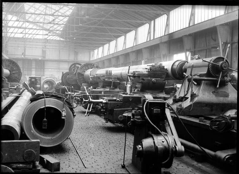 Works photographic negative of gun barrel on lathe, Coventry ... on