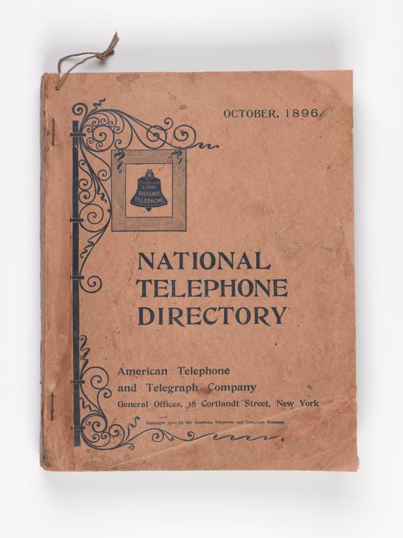 A T T National Telephone Directory October 1896 Science Museum