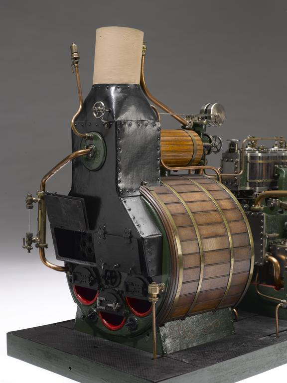 Model, of a two-cylinder inverted compound type engine and boiler ...