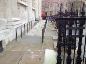 Accessible ramp entrance to north side of church
