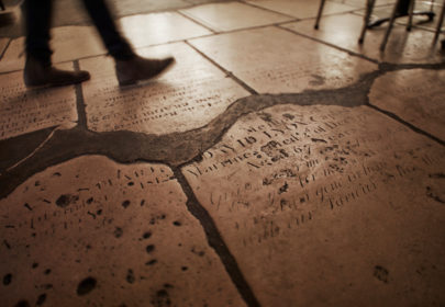 Flagstones on the floor of the Cafe in the Crypt