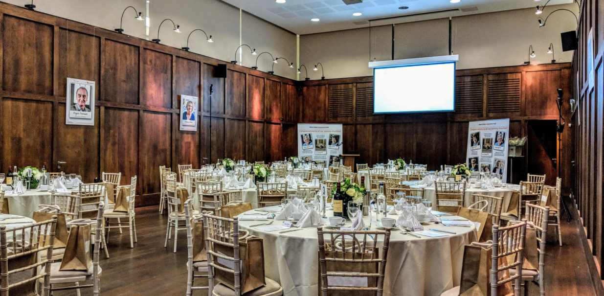 St martin's Hall setup for a corporate dinner