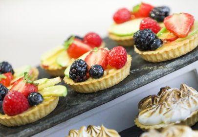 Berry tartlets and meringue pies
