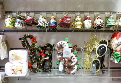 Christmas decorations - painted glass and eyeglasses