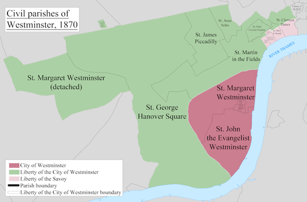 A map showing the civil parishes of Westminster as they appeared in 1870. Based on the Ordnance Survey Town Plan of London (1871-76) at 1:1056 scale.