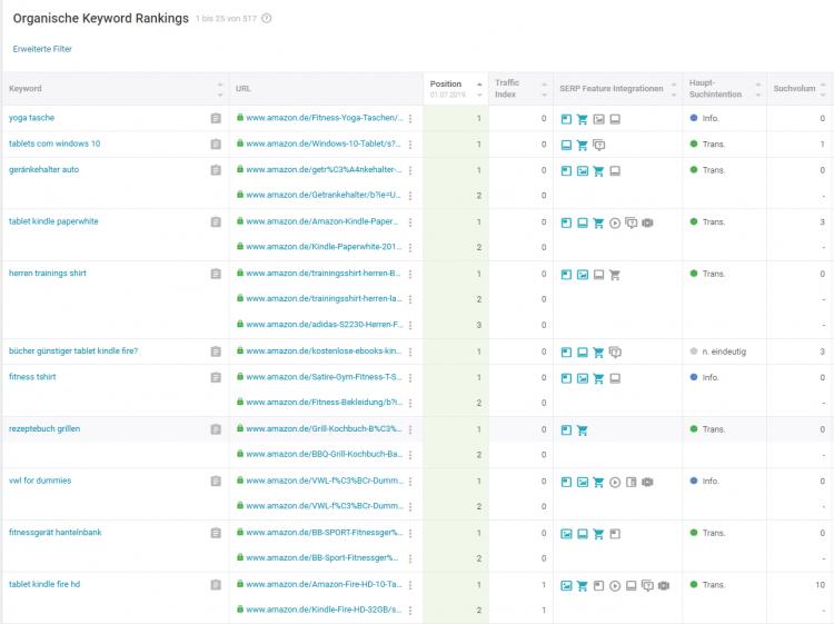 Organische Keyword Rankings