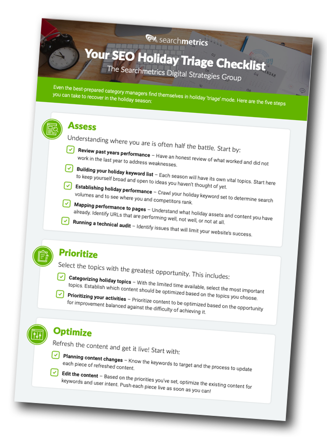 The Searchmetrics SEO Holiday Triage Checklist