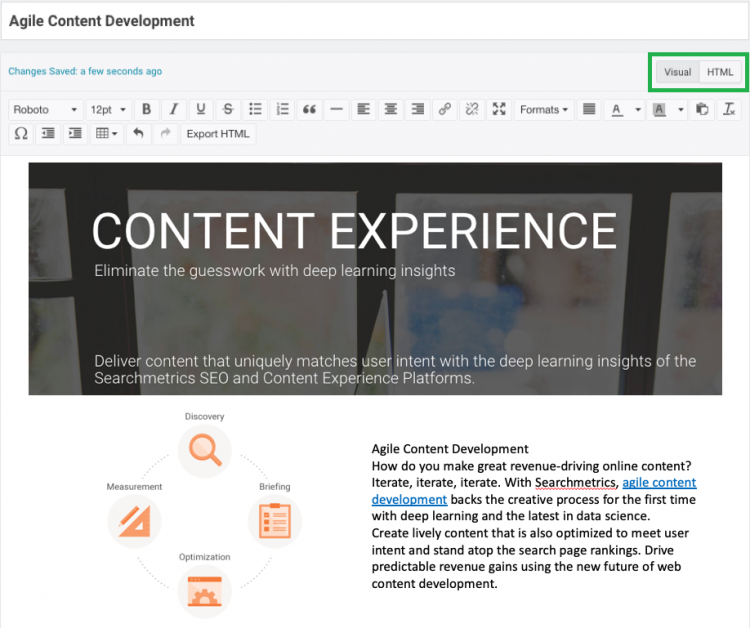 HTML Editor - Content Experience Searchmetrics