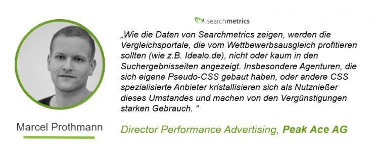 Google-Shopping-Stuied Searchmetrics - Zitat von Marcel Prothmann
