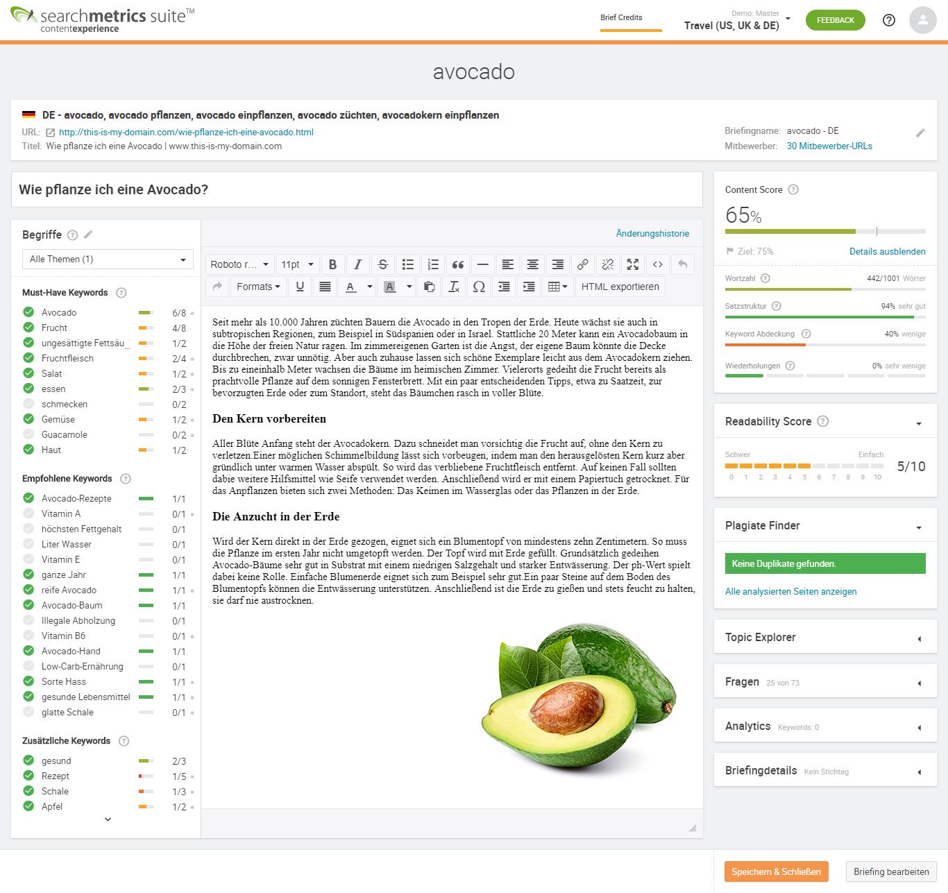 Searchmetrics Content Editor & Content Score
