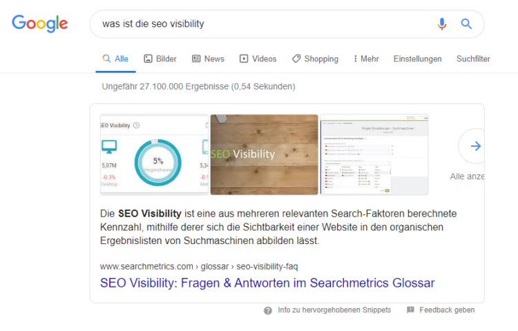 Searchmetrics Glossar: Featured Snippets - Beispiel SEO Visibility