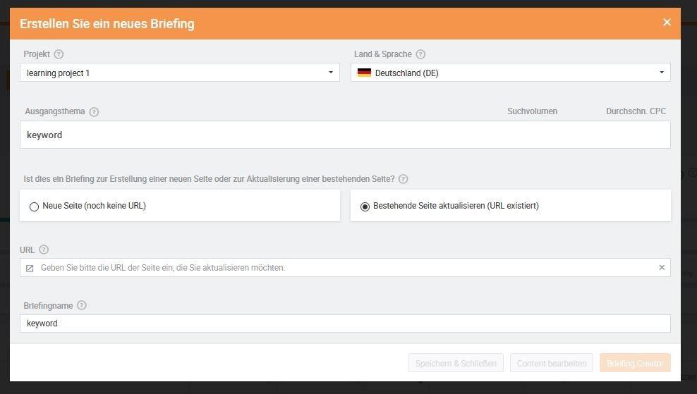 Searchmetrics Glossar: Briefing Creator