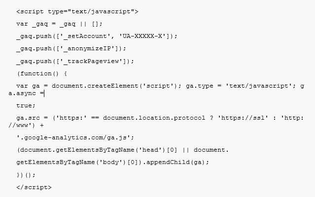 Glossar: Google Analytics - Code Snippet