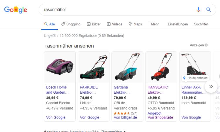 "Glossar Google Shopping: Bsp. Keyword ""Rasenmäher"""