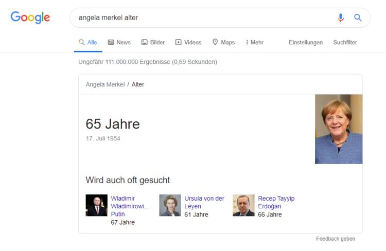 """Glossar: Zero-click-searches - Suchanfrage nach """"Angela Merkel Alter"""""""