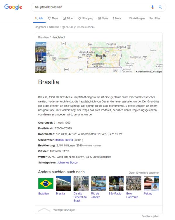 """Glossar: Zero-click-searches - Suchanfrage nach """"Hauptstadt Brasilien"""""""