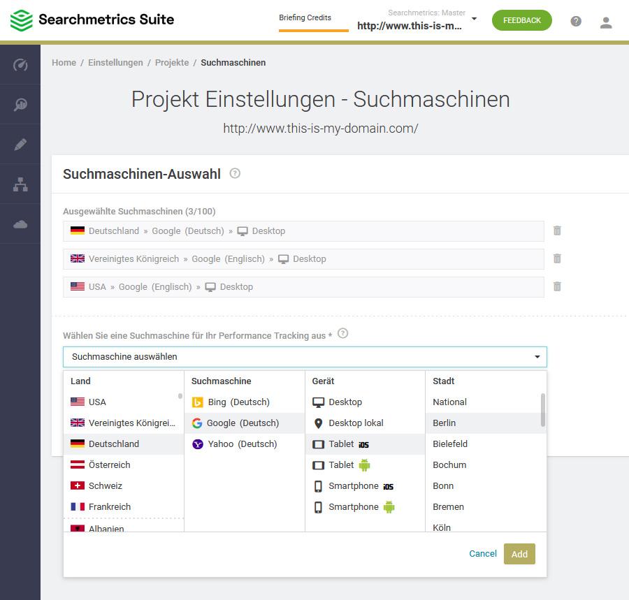 Glossar: SEO Visibility - Projekt Einstellungen Suchmaschinen
