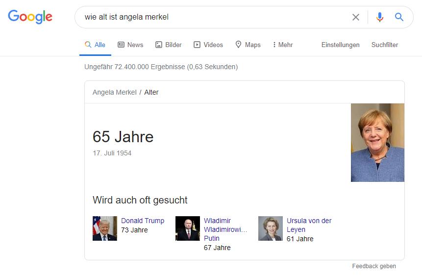 Glossar - Direct Anwers: Bsp. Angela Merkel