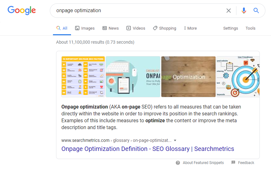 Glossar - Direct Anwers: Bsp. Onpage Optimization