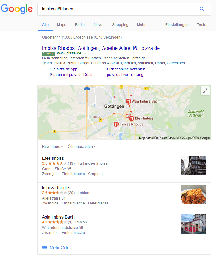 """Universal Search: Suchergebnisseite für """"imbiss göttingen"""""""