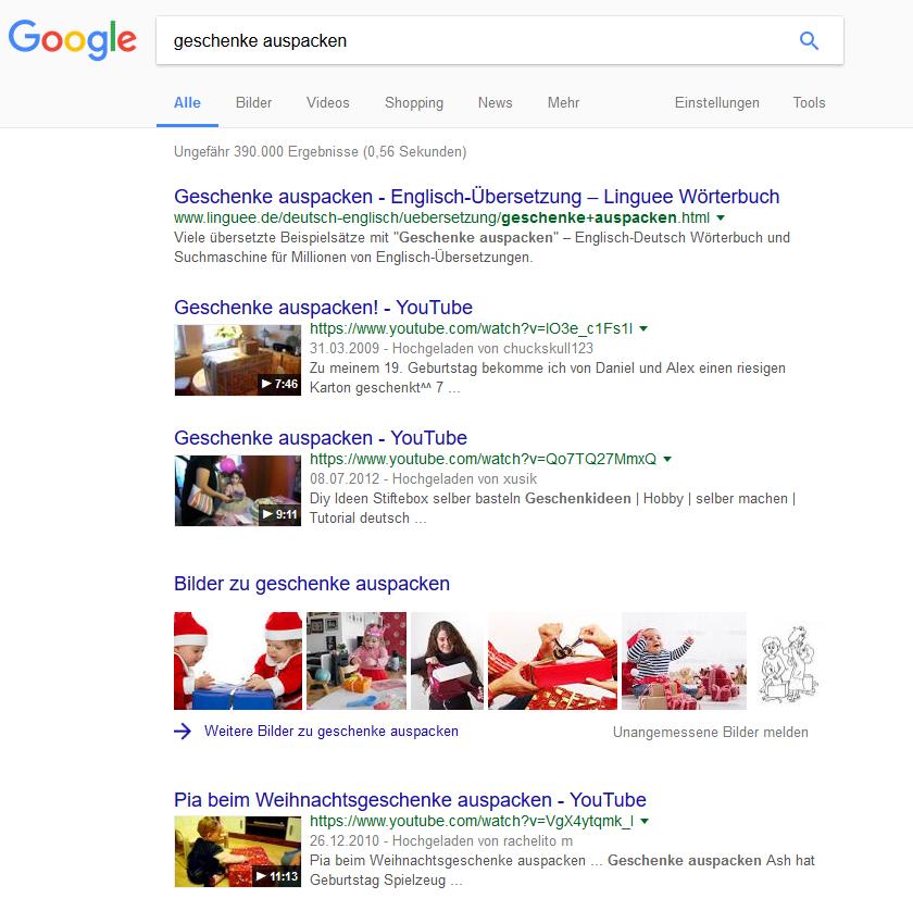 """Universal Search: Suchergebnisseite für """"geschenke auspacken"""""""