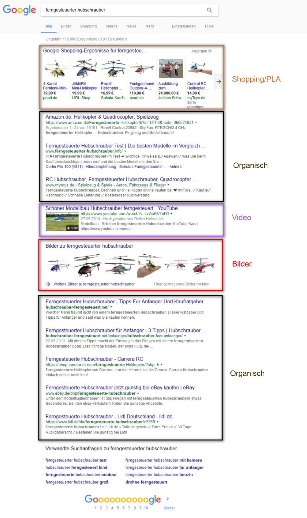 """Universal Search: Suchergebnisseite für """"ferngesteuerter Hubschrauber"""""""