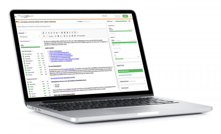 Searchmetrics Content Editor – Texterstellung zum Thema Zahnimplantat